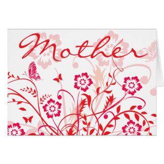 El día de madre rojo de los remolinos de las tarjeta de felicitación