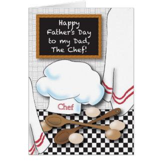 El día de padre al cocinero tarjeta de felicitación