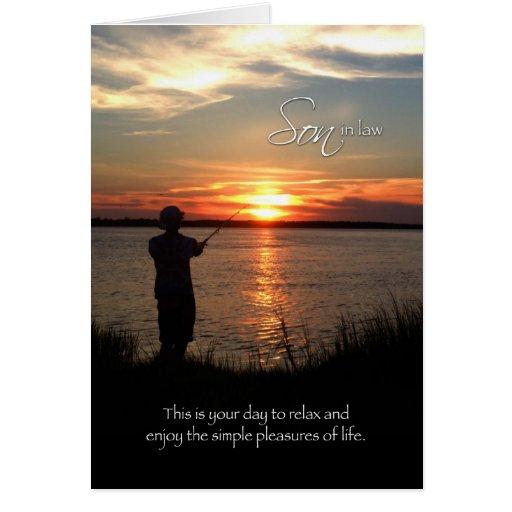 El día de padre del yerno, silueta de la pesca de tarjetas