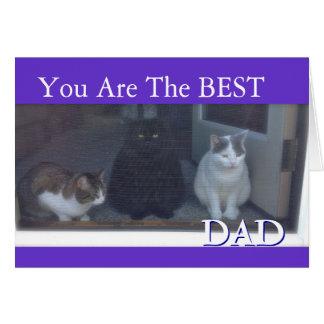 El día de padre feliz de gatos tarjeta de felicitación