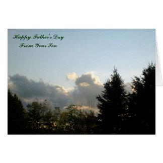 El día de padre feliz, de su hijo tarjeta de felicitación