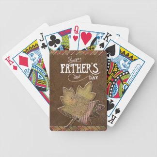 El día de padre feliz - hoja de arce de cuero de baraja de cartas bicycle