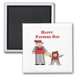 El día de padre feliz papá y yo béisbol iman de frigorífico