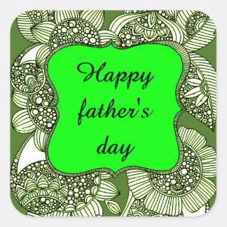 El día de padre feliz pegatina cuadrada