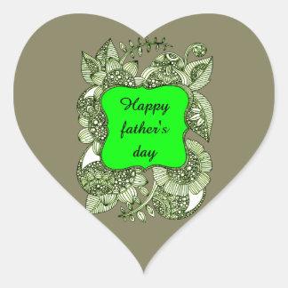 El día de padre feliz pegatina en forma de corazón