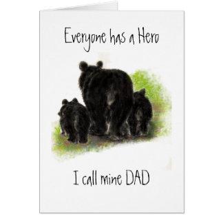 El día de padre lindo, papá mi héroe, familia del  tarjetas