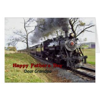 El día de padre, para el abuelo, tren del vapor tarjeta de felicitación