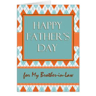 El día de padre para el cuñado, diseño de Argyle Tarjeta De Felicitación