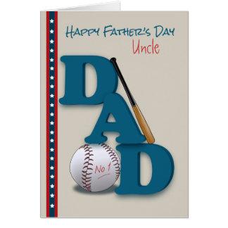 El día de padre para tío Baseball Theme No.1 Dad Tarjeta De Felicitación