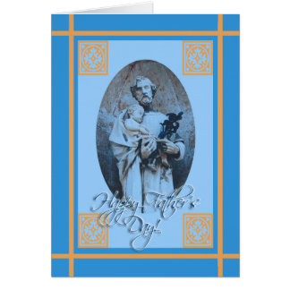 El día de padre religioso, San José y Jesús Tarjeta De Felicitación