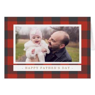 El día de padre rojo de la tela escocesa tarjeta de felicitación