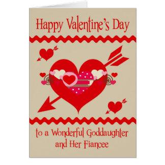 El día de San Valentín a la ahijada y al prometido Tarjeta De Felicitación