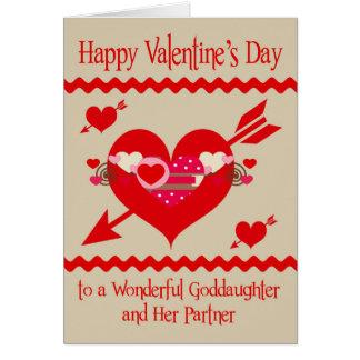 El día de San Valentín a la ahijada y al socio Tarjeta De Felicitación