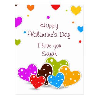 El día de San Valentín colorido de los corazones Postal