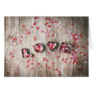 """El día de San Valentín - confeti del """"amor"""" Tarjeta De Felicitación"""