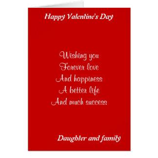 El día de San Valentín de la hija y de la familia Tarjeta De Felicitación