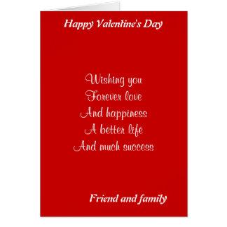 el día de San Valentín del amigo y de la familia Tarjeta De Felicitación