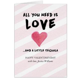 El día de San Valentín del amor y del Tequila Tarjeta De Felicitación