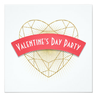 El día de San Valentín del corazón de Deco del oro Invitación 13,3 Cm X 13,3cm