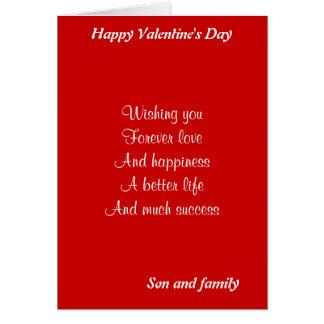 El día de San Valentín del hijo y de la familia Tarjeta De Felicitación