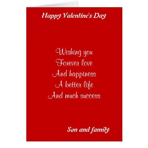 El día de San Valentín del hijo y de la familia Tarjetas