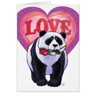 El día de San Valentín del oso de panda Tarjetas