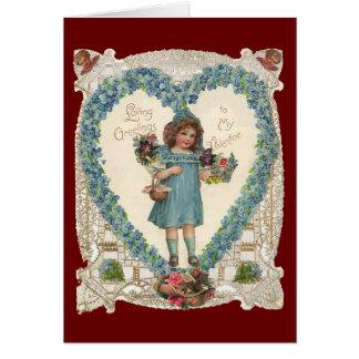 El día de San Valentín del Victorian del vintage, Tarjeta