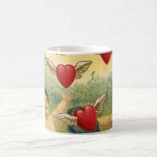 El día de San Valentín del vintage, corazones de l Taza De Café