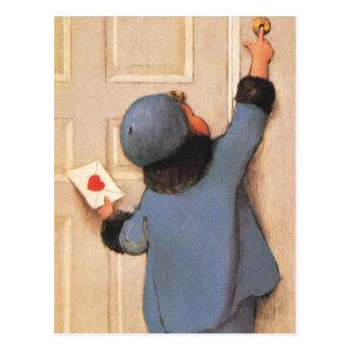 El día de San Valentín del vintage, niño con la Tarjetas Postales