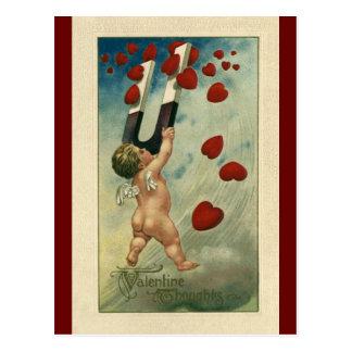 El día de San Valentín del vintage, querube con Postal