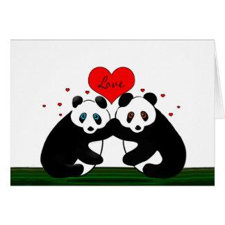 El día de San Valentín - dos osos de panda en amor Tarjeta De Felicitación