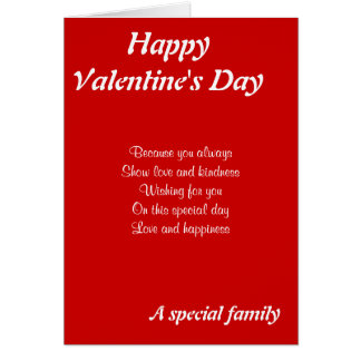 El día de San Valentín especial de la familia Tarjeta De Felicitación