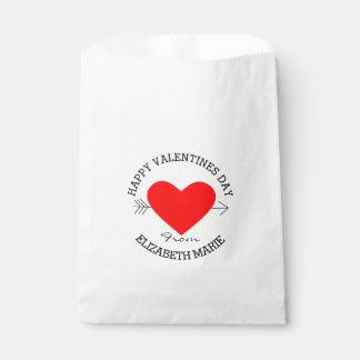 El día de San Valentín feliz - corazón rojo Bolsa De Papel