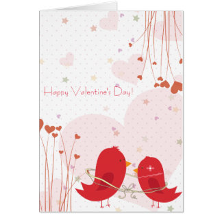 El día de San Valentín feliz de los pájaros rojos Tarjeta De Felicitación