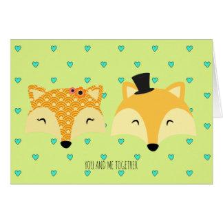 el día de San Valentín feliz foxes caprichoso Tarjeta De Felicitación