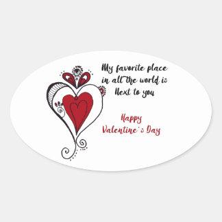 El día de San Valentín feliz Pegatina Ovalada