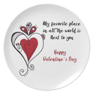 El día de San Valentín feliz Plato