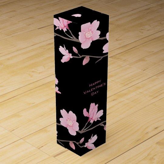 El día de San Valentín Flor-Negro-Feliz de la Caja Para Vino