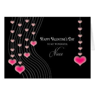 El día de San Valentín - sobrina - negro/corazones Tarjeta De Felicitación