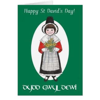 El día de St David, traje Galés, tarjeta bilingüe