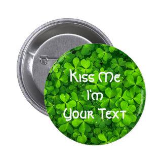El día de St Patrick de las hojas del trébol de Chapa Redonda De 5 Cm