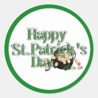 El día de St Patrick feliz con la mina de oro Pegatinas Redondas