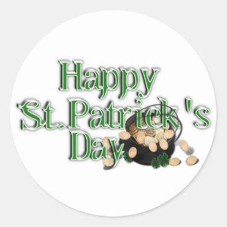 El día de St Patrick feliz con la mina de oro Etiqueta Redonda