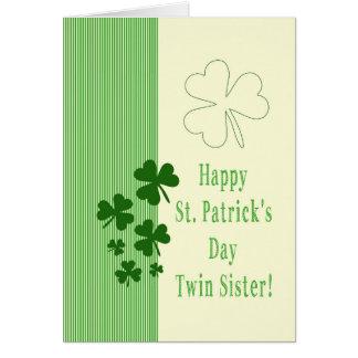 El día de St Patrick feliz de la hermana gemela Tarjeta De Felicitación