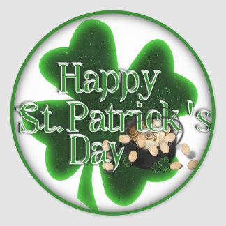 ¡El día de St Patrick feliz! Pegatina Redonda