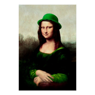 El día de St Patrick - Mona Lisa afortunada Póster