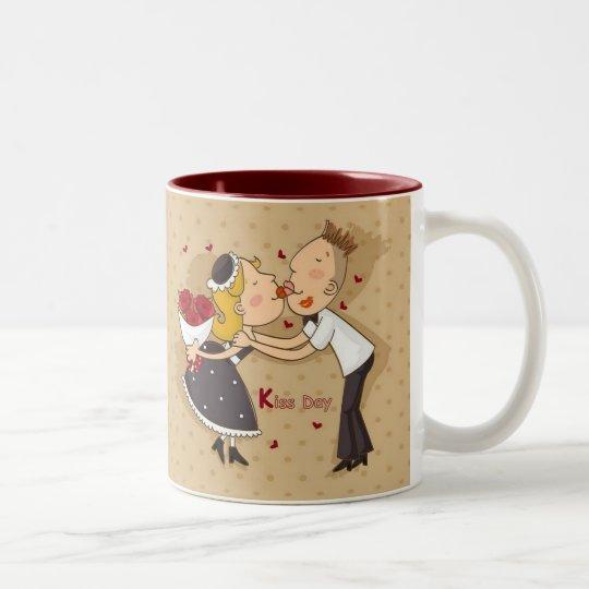 El día de tarjetas del día de San Valentín es… Día Taza De Café De Dos Colores