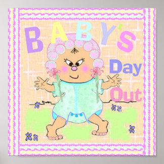 El día del bebé asiático hacia fuera imprime en póster