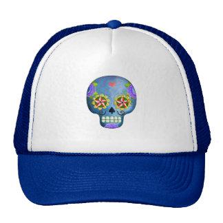 El día del cráneo azul muerto del azúcar gorro