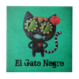 El día del gato negro muerto azulejo de cerámica